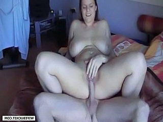 Creampie for busty wife