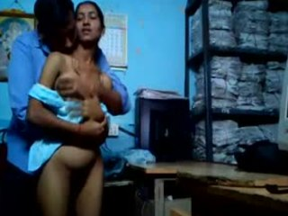 Sneaky Indian couple enjoying hardcore fucking while back at the office
