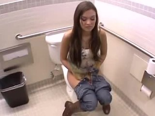POV sxey video with a submissive teen that gets fucked on the restroom floor