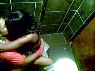 Passionate Indian couple enjoying hardcore sex in the public restroom