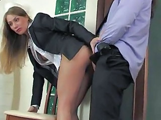 He bends his boss over and bangs her pussy