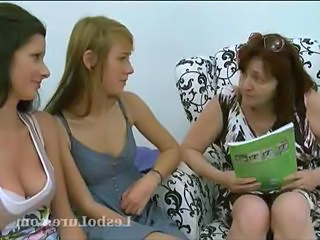Shy first time lesbian teen joins several understudy lesbos for a threesome as they step by step ease her come by it, taking off her clothes and sucking on her nipples