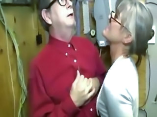 Busty granny tugging on dick for lucky guy