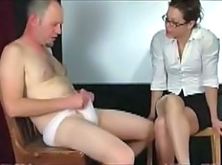 Man in panties punished by teacher  : femdom handjobs spanking