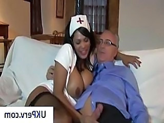 Busty brunette nurse gives her old man patient and nice blowjob