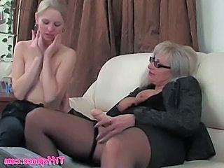 Young blonde rides older lesbians strapon  free