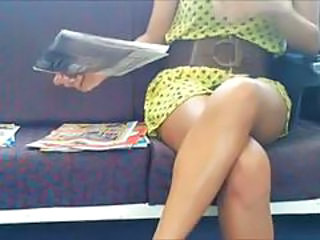 On the train upskirt down blouse and feet