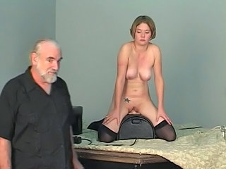 Short haired b cup blonde lowers her pussy onto...