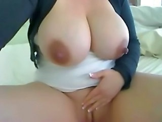 Amateur lactating lady shows dripping boobs and pussy