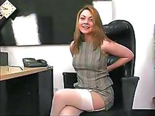 Cute Brunette In The Office Is Alone And Horny And Toys Pussy