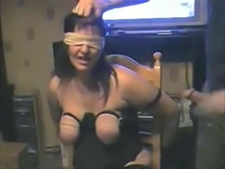 Whipping boobs of my mature slave. Amateur home made