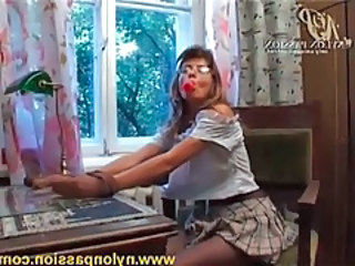 Gal in glasses and skirt wears X pantyhose tubes