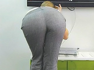 Long haired blonde secretary scanning ass & tits