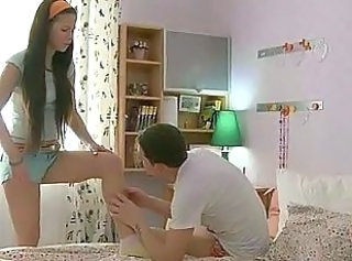 Flexible teen flirts with a guy