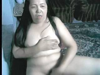 52yr old Filipina Granny Plays with her Pussy on Webcam