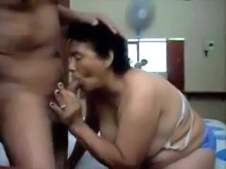 Horny granny having fun with younger man. Real amateur