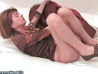 Very skinny granny stretching her tight pussy almost a dildo tubes