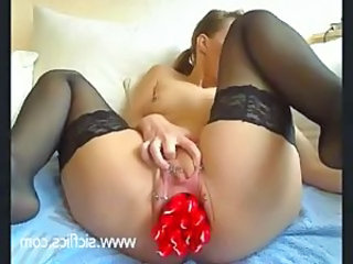 Extreme amateur whore fucking 14 large candles in her loose