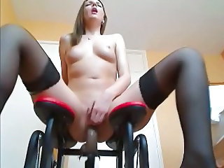 Girl is experiencing a new sexual machine for masturbation.