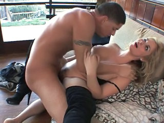 Hot blonde in boots fucked...