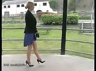 Hot blonde has lovely legs and sexy pair of high heel shoes