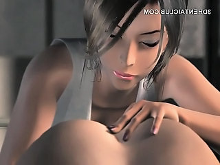 Sexy anime girl in big tits blows a giant cock