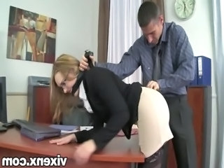 Bad secretary punished by spanking and anal sex free