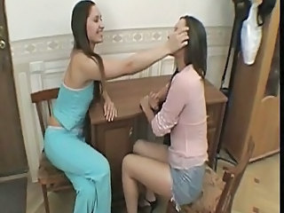 Hairy lesbian twins licking and toying