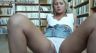 Blonde Nerdy Chick In Library As...