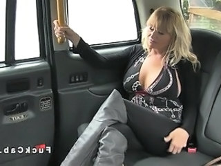 Huge tittied blonde banged in fake taxi