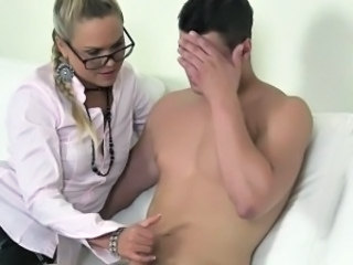 Blonde female agent fucked by shy dude on casting