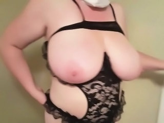 Granny with huge boobs gets naked