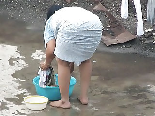 Spying indian Aunty   Ass Bend over   Booty Voyeur