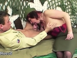German army uniform Milf get fucked by young boy
