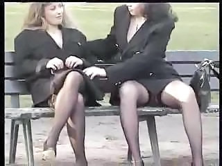 Two business ladies try to do something extraordinary in public