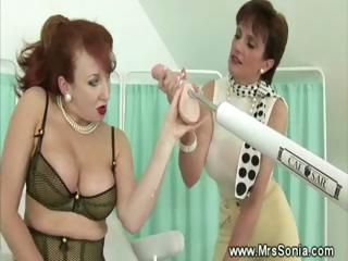 Sex machine taking care of mature pussy
