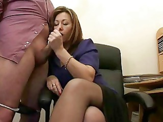 super grown up assistant jerks the ejaculate from bosses cock !