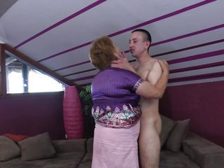 Elisia is a chubby mature whore that needs some love from her boy. She approach him and the begin to kiss passionately and get naked. soon Elisia finds herself under her guy and he squeezes her big soft boobs while kissing them. Will Elisia receive a few