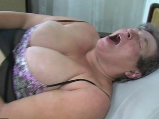 Two guys have group sex with old chubby lady and chubby aged