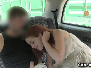Red haired babe needs a cock in a car