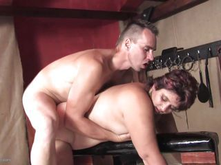 Having all the tools he needs near him this guy prefers using his favorite tool to fuck this chubby mature hard and deep, his cock. He rides this bitch's ass from behind and shows her what a hard fuck is all about making her satisfied. Want to see som