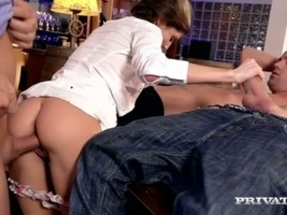 Dark haired sweet chick Gina Gerson gets gangbanged in billiard room tough