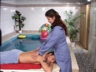 Masseuse with big tits is arsefucked and fisted by the pool