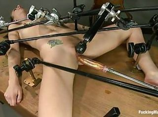 Blonde whore likes being fucked by a machine