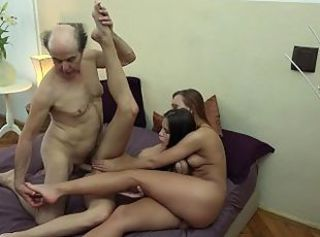 Ugly Grandpa vs Beautiful Young Girls in hardcore threesome fuck an...