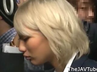 Japanese blonde AIKA groped in a public bus and abused in a public ...