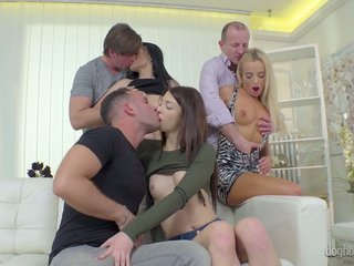 Czech hottie Victoria Pure takes part in crazy group sex orgy