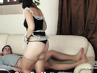 Aged French maid in skimpy uniform luring a horny lad into hawt screwing