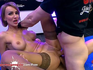 Gorgeous Russian MILF Elen Million gets her holes fucked hard by super big cocks and her face cum covered in a huge bukkake gang