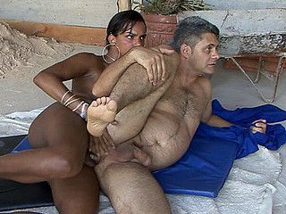Kinky handyman blows a beefy shemale dick and gets his butthole plundered